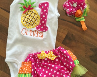 Pineapple hawaiian luau birthday party ruffled butt diaper cover onesie headband set