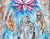 Buddha Statue, Mixed media, zen art, buddha art,modern buddhist art,yoga,zen art,statues,om,lotus flowers, koi fish, koi tattoo, buddha koi