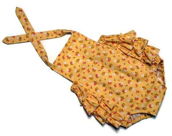 Baby Girl Ruffle Sunsuit Romper Infant Toddler Yellow Calico Size 12 - 18 months
