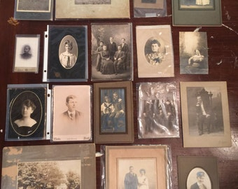 Vintage photographs 17 in this lot family children wedding portrait cabinet cards preserved collectors items