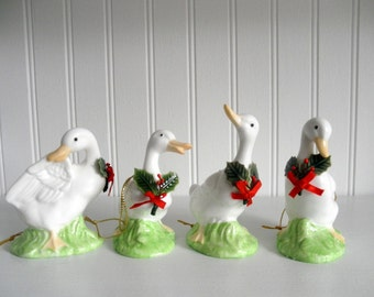 Vintage Enesco Goose Geese Christmas Ornament Set Xmas Tree Decorations 80s Holiday Country Cottage Chic Home Decor Goosie Gander White