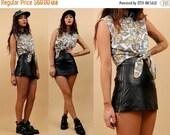 15% OFF 1DAY SALE 80s 90s Vtg Genuine Black Leather High Waist Micro Mini Skirt / Metal Double Zipper Sides Biker Skater Grunge Club Kid Got
