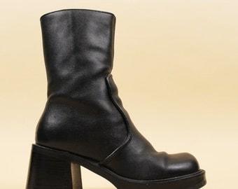 24HR FLASH SALE 90s Vtg Black Genuine Leather Chunky Platform Tall Ankle Boots / Wood Stacked Heel / Minimal Chelsea Mod Grunge Biker / 5 Eu