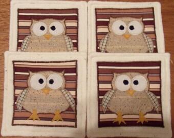 Primitive Country Whimsical Big-Eyed BARN OWLS Coasters Mug Mats Hot Pads Trivets