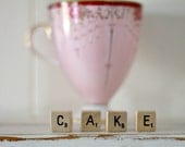 vintage wood block word CAKE
