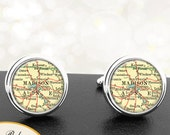 Cufflinks Madison WI Handmade Cuff Links City State Maps Wisconsin Groomsmen Wedding Party Fathers Dads Men