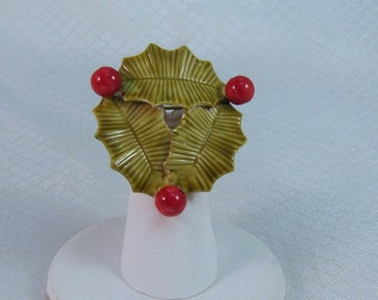Rare Original by Robert Enameled Holly Brooch