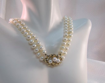 Beautiful Double Strand Cultured Pearl Necklace with 14kt Gold, Pearl and Diamond Clasp