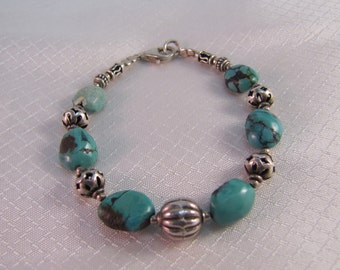 1980's Turquoise and Sterling Bead Bracelet