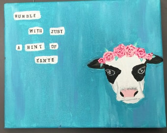 8x10 cow with flower crown painting
