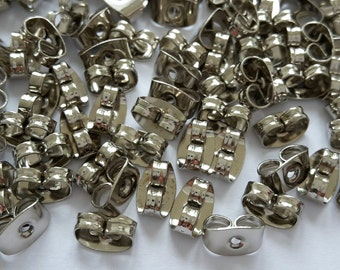 100 earnuts, stopper for earstuds, platinum silver