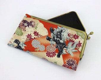 iPhone 7 Fabric Cover,Samsung Phone Pouch, Unique Gift Idea,  Galaxy S7 Case Foo Dog Orange