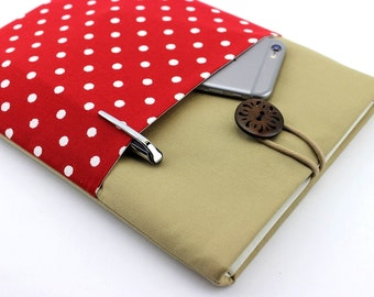 """11.6"""" to 15.6"""" Laptop Sleeve, MacBook Case Custom Size Microsoft Surface Pro Cover Padded with Pocket Polka Dot Red"""