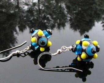 Lampwork Bead Earrings Handmade Sterling Silver Handcrafted Artisan SRAJD