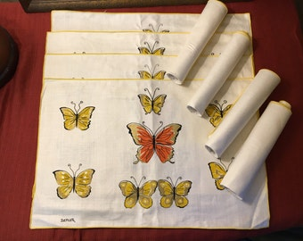 Vintage Constance Depler Butterfly Art Signed Linen Placemats and Napkins