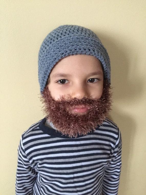 Handmade Crochet Beard Hat Beanie Medium Blue