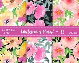 Watercolor flower digital paper - Watercolor floral backgrounds, Digital Scrapbook Paper, Floral digital paper, Watercolor roses, peony