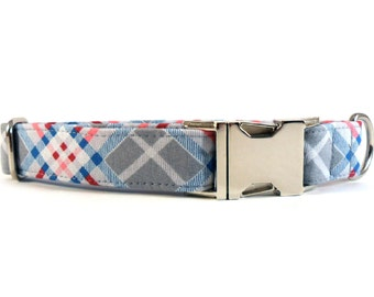 Plaid in Gray Dog Collar