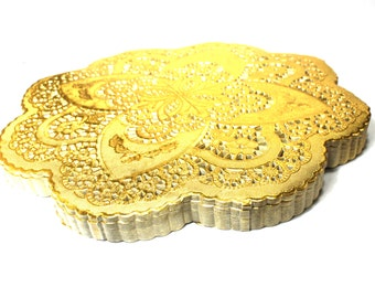 50 Gold 12 inch doilies, gold foil- NEW STYLE- dollies perfect for weddings, showers and New Years Eve celebrations.