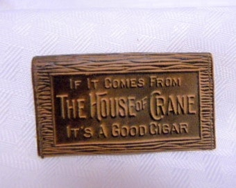 Cigar company leather change purse promotional item 1900 vintage House of Crane Cigars very rare