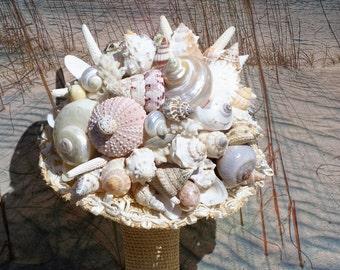 Burlap and Bows Seashell Bouquet / Beach Bouquet