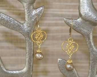 Gold Filigre and Freshwater Pearl Earrings