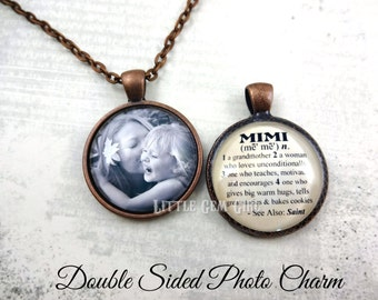 Mimi Necklace with Custom Photo - Double Sided Necklace OR Key Chain - Mimi Dictionary Definition Charm - Mothers Day Gift