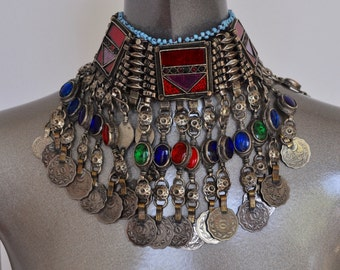 Vtg Ethnic Afghani necklace, tons of beads and coins. Chocker necklace Afghanistan 1970s 15% discount w code