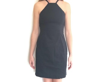 90s High Neckline Black Dress