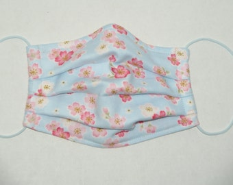 """Premade Pleated Double Gauze Facial Mask for Teens and Adults """"Sakura - Blue with Pink/White"""" & Tio Tio Antibacterial Gauze"""" Size M"""