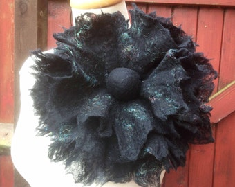 felted flower corsage pin brooch, handmade, felted wool flower, xxl,large, lagenlook, handmade, shawl pin,black, MADE TO ORDER