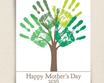 Mother's Day Last Minute Printable Gift - DIY Child's Handprint Tree Gift For Mom - Printable pdf - Kid's craft project - Tree Art Project