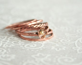 Flower - copper flower stacking ring set size 7 3/4