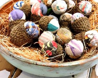 Primitive Stuffed Acorns, Natural Woodland Autumn Fall Decor, Country Wedding Favors, Patchwork Quilt Bur Oak Tree Cap Acorns itsyourcountry