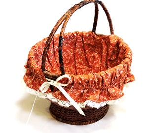 Dark Wicker Fabric Lined Basket, Vintage Round Sewing Flower Girl Basket with Handle, Easter Egg Gathering, Farmhouse Decor itsyourcountry