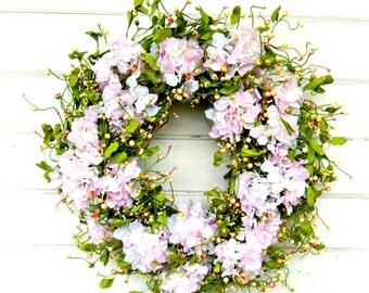 Wedding Decor-Wedding Wreath-Weddings-Hydrangea Wreath-Shabby Chic Wedding-Garden Wedding-Wedding Reception Decor-Gift for Mom-Housewarming