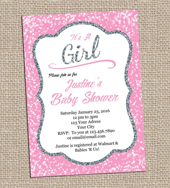 pink and silver baby shower invitation printable invitation its a girl