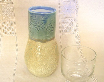 Wine Carafe, Water Jug in Hand Thrown Stoneware Pottery with Lace Texture, Blue Green, Cream, 20 oz