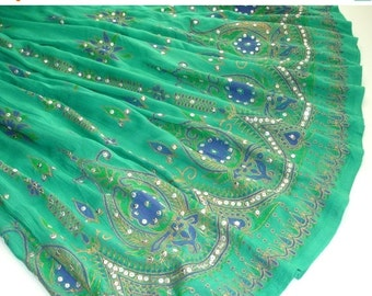 ON SALE Maxi Skirt: Aqua Green Gypsy Skirt, Long Indian Skirt, Teal Bollywood Belly Dance Skirt, Floral Bohemian Sequined Skirt, Festival Cl