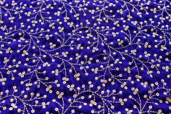 Half yard blue embroidered velvet fabric traditional wedding