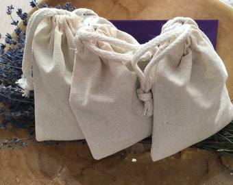 Large lavender dryer bags/sachets-set of 3-reusable natural muslin