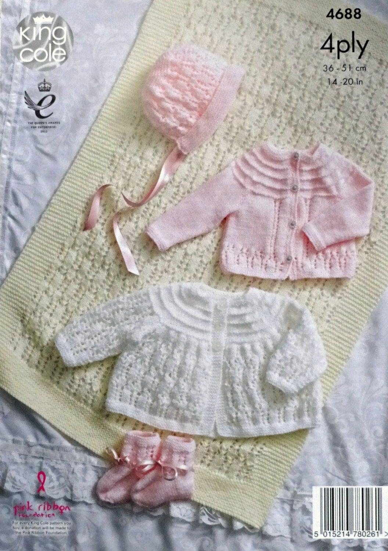 Baby Knitting Pattern K4688 Baby Blanket Cardigan Matinee