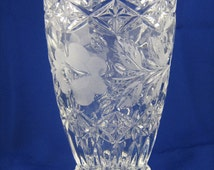Flower Vase, Large, Frosted Floral, Clear, Cut Crystal, Scalloped with Sawtooth Rim TMA88