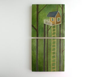 Tree House Diptych Oil Painting