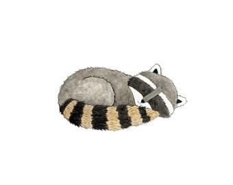 Sleeping Raccoon Print - Kids Wall Art - Woodland Nursery
