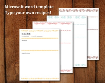 Baked with love full size printable recipe pages for Create your own cookbook template