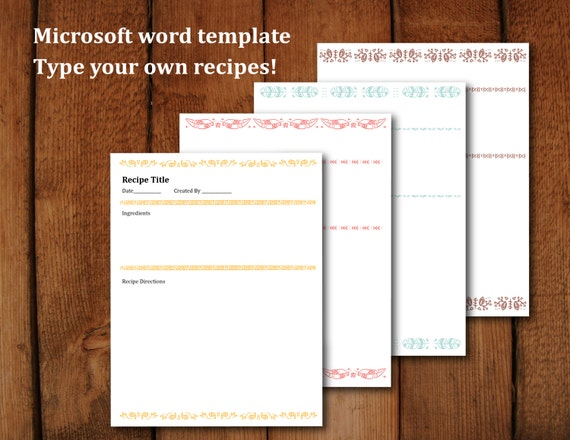 printable recipe pages microsoft word editable letter size