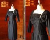 SALE / vintage 1950s dress / 50s black cocktail dress / size medium