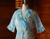 SALE / vintage 1950s sheer blue floral print blouse / size large