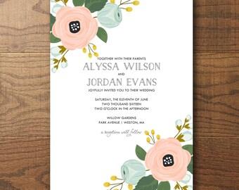 Printable Wedding Invitation, Floral